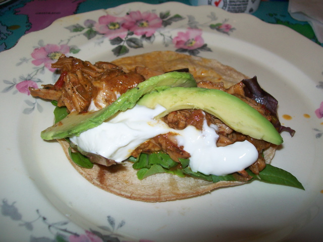Served with warm corn tortillas, lettuce, avocado and sour cream