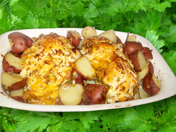 Baked eggplant with red potatoes