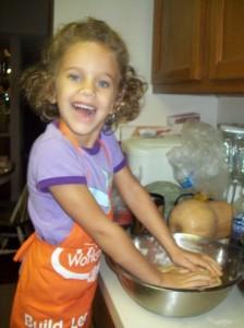 Elsa kneading bread dough