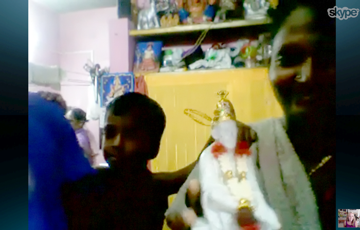 Lakshimi shows of a statue of her favorite god Baba