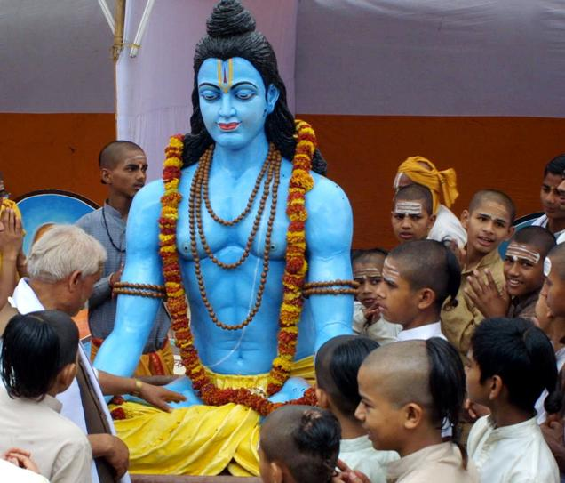 Lord Ram, as Rama is called in India, surrounded by worshippers