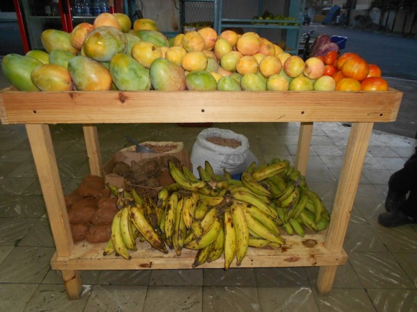A selection of local fruits and vegetables at our nearby colmado